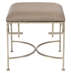 Limelight Hollywood Regency Light Brown Linen Silver Stool Ottoman