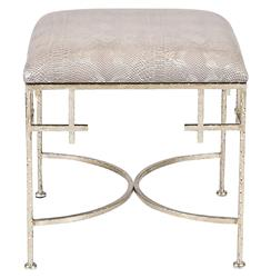 Limelight Hollywood Regency Taupe Shimmer Snakeskin Silver Stool Ottoman