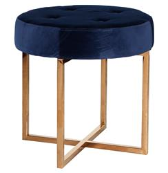 Charlize Hollywood Regency Navy Blue Velvet Tufted Gold Stool Ottoman