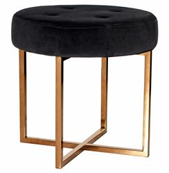 Charlize Hollywood Regency Black Velvet Tufted Gold Stool Ottoman