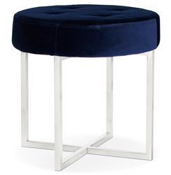 Charlize Hollywood Regency Navy Blue Velvet Tufted Nickel Stool Ottoman
