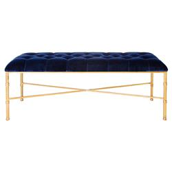 Gamine Hollywood Regency Gold Bamboo Navy Blue Velvet Bench