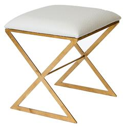 Chi Hollywood Regency Gold White Ostrich Stool Ottoman