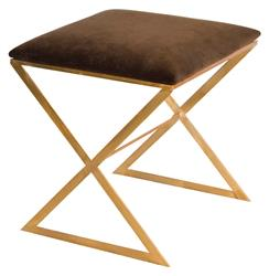 Chi Hollywood Regency Gold Brown Velvet Stool Ottoman