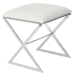 Chi Hollywood Regency Silver White Ostrich Stool Ottoman