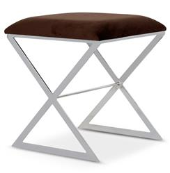 Chi Hollywood Regency Silver Brown Velvet Stool Ottoman