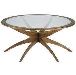 Henry Mid Century Weathered Walnut Round Round Coffee Table - 42 Inch
