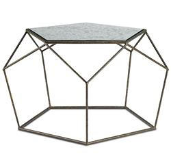Zin Geometric Industrial Antique Mirror Bronze Coffee Table