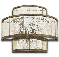 Palma Hollywood Regency Antique Bronze Mirror Drum Sconce