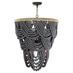 Regina Andrew Lorelei Coastal Grey Wood Beads Brown Rattan Chandelier