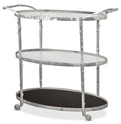 Vineyard Hollywood Regency Three Shelf Nickel Bar Cart | STA-8.82048