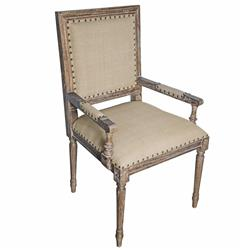 Brittany French Country Grey Wash Wood Arm Chair