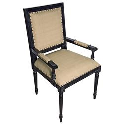 Brittany French Country Hand Rubbed Black Wood Arm Chair
