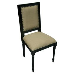 Brittany French Country Hand Rubbed Black Wood Side Chair - Pair