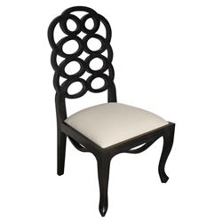 Greta Hollywood Regency Hand Rubbed Black Wood Side Chair - Pair