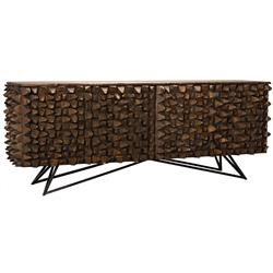 Noir New Modern Rustic Reclaimed Chunky Wood Metal Sideboard Buffet