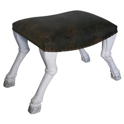 Noir Claw Global Bazaar White Weather Hoof Leg Leather Stool