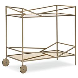 Caracole Vector Hollywood Regency Bronze Metal Frame 2 Shelf Bar Cart