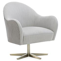 Caracole Verge Modern Grey Performance Upholstered Swivel Chair