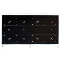 Harley Hollywood Regency Studded Black Lacquer Mirror Dresser