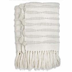 Catavento Pampa Merino Modern White Wool Handwoven Throw Blanket