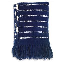 Catavento Pampa Merino Modern Blue Wool Handwoven Throw Blanket