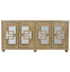 Newman Hollywood Regency Limed Oak Mirror Media Cabinet | Kathy Kuo Home