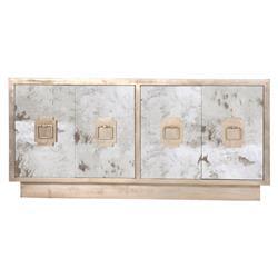 Chantal Hollywood Regency Antique Silver Mirror Sideboard Buffet