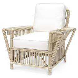 Palecek President's Coastal Beach White Rattan Wrapped Sunbrella Arm Chair