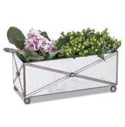 Domino Hollywood Regency Rectangular Antique Mirror  Planter | WDA-AMT125