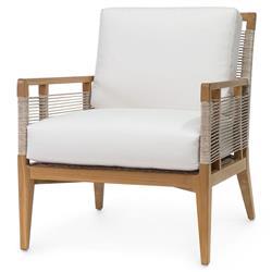 Palecek Amalfi Coastal Beach Teak Wood Sunbrella Outdoor Lounge Chair