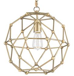 Geodesic Antique Brass Mid Century Modern Orb Pendant - 14 Inch