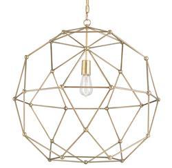 Geodesic Antique Brass Mid Century Modern Orb Pendant - 25 Inch