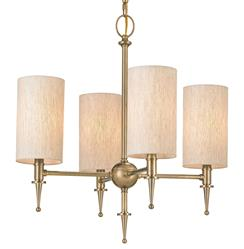 Brearley 4 Light Transitional Antique Brass Oatmeal Shade Chandelier