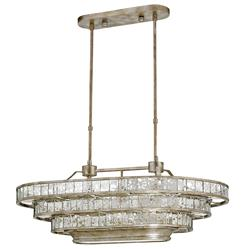 Delphine Parisian Bistro Antique Silver 3 Tier Oval Island Chandelier