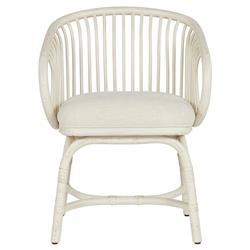 Yehuda Coastal Beach White Performance White Rattan Dining Arm Chair
