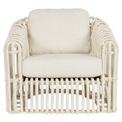 Chad Coastal Beach White Performance White Rattan Arm Chair