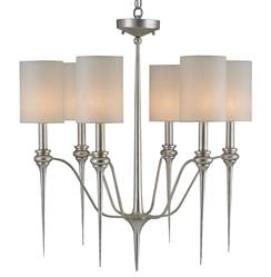 "Chester Modern Transitional Silver 6 Light Chandelier - 26""D 
