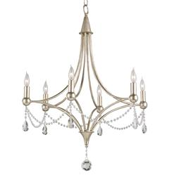Gracie Crystal Elegant Beaded Antique Silver 6 Light Chandelier