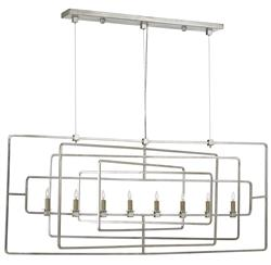 Rittenhouse Modern Square Silver Leaf 8 Light Island Chandelier