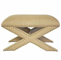 Madie Regency Style X Base Burlap Nailhead Wide Ottoman Stool