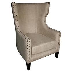 Noir Berne French Country Burlap Nailhead Wing Back Accent Chair