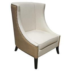 Noir Aiden French Two Tone Nailhead Trim Wing Back Occasional Arm Chair