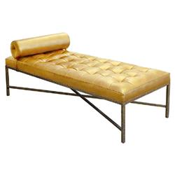 Oly Studio Jonathan Gold Mohair Tufted Antique Gold Lounge Daybed