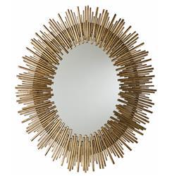 Arteriors Prescott Modern Antique Gold Leaf Sunburst Oval Iron Wall Mirror