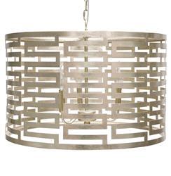 Aphrodite Hollywood Regency Greek Key Silver Drum Pendant