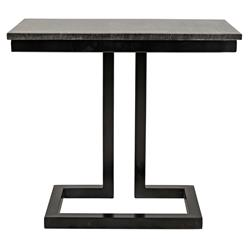Noir Alonzo Industrial Loft Grey Marble Top Black Metal Frame Side C Table