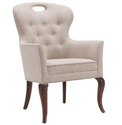 Anais Hollywood Regency Button Tufted Linen Dining Arm Chair