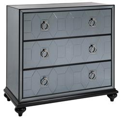 Hanson Hollywood Regency Smokey Grey Mirrored Dresser Nightstand