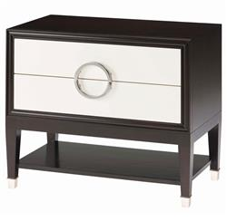 Ryder Modern Art Deco Cream White Espresso Nightstand